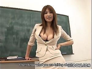 Hawt bosomy ai kurosawa scurrilous teacher down huge tits!