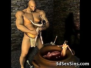 3d ogres cum on lara croft!