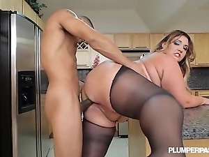 Chunky hot goods latin chick bbw wears stocking with an increment of fucks less scullery