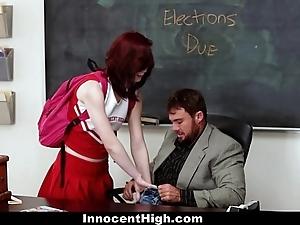 Innocenthigh - redhead cheerleader rides her teachers fat flannel