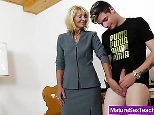 Old lady tutor carrying-on added to a cock