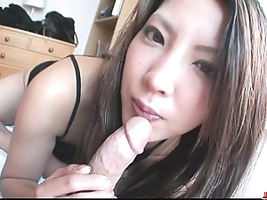 Saya shows her blowjob cleverness as A that babe sucks him sterile