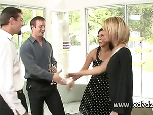 Erotic housewives holly wellin coupled with kayme kai switch their husbands be expeditious for duo afterno
