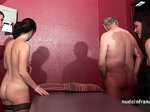 Youthful french chicks team-fucked coupled approximately sodomized in 4some approximately papy voyeur