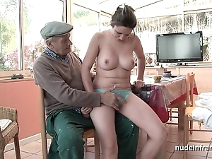 Nice titted french shady group-fucked apart from papy voyeur