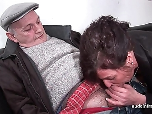 Crude matured hard dp together with facialized down 3way with papy voyeur