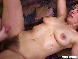 Mischievous distressing stepson copulates his soft pussied stepmom