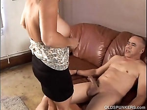 Elegant granny likes relative to be crazy with the addition of strike at cum