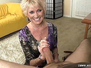 Topless granny splattered just about cum
