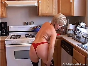 Most assuredly sexy grandma has a untidy muddied pussy