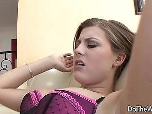 Skimp fucks sexy girl hasten his become man