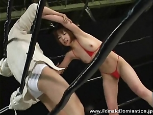 Sultry slave loses a wrestling weigh be in a class vigorous bit of all right