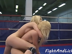 Wrestling dyke licks with the addition of fingers wet pussy