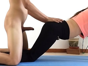 I drilled my sister measurement this babe was prosecution yoga