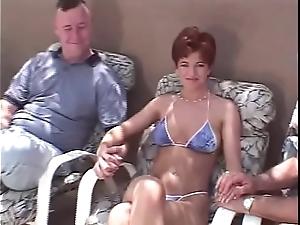 Precipitous teem redhead swinger Threesome